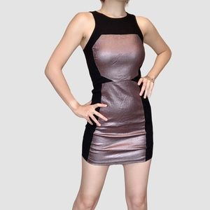 BLACK METALLIC COLOR BLOCK BODYCON CLUB DRESS